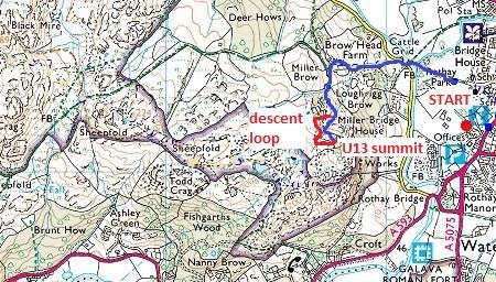 Todd Crag map U13 route Todd Crag Junior Races