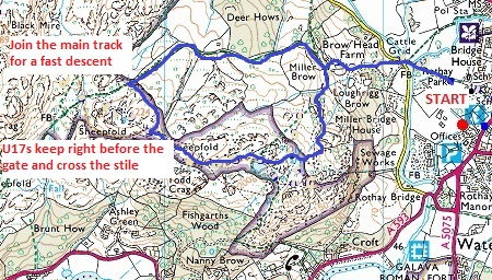 Todd Crag map U17 route Todd Crag Junior Races