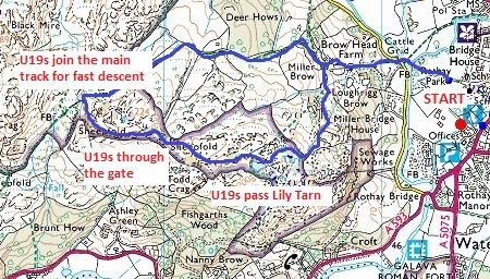 Todd Crag map U19 route Todd Crag Junior Races