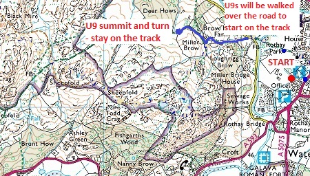 Todd Crag map U9 route Todd Crag Junior Races