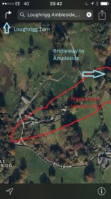 Satellite view start and finish area 2021 annotated 160x285 LOUGHRIGG ONE HOUR SCORE ORIENTEERING EVENT