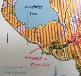 screenshot of start area on orienteering map 2021 285x270 LOUGHRIGG ONE HOUR SCORE ORIENTEERING TUES 6TH APRIL 2021 START LOCATION